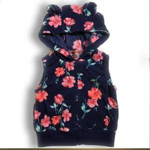Floral Zip-Up Bear Ear Fleece Hoodie